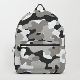Grey Black White Camouflage Backpack