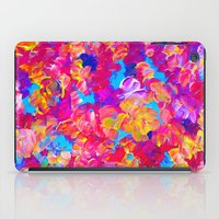 jazzberry iPad Cases featuring FLORAL FANTASY Bold Abstract Flowers Acrylic Textural Painting Neon Pink Turquoise Feminine Art by EbiEmporium