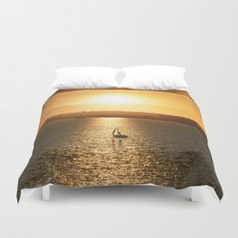 Sail away from the safe harbor Duvet Cover