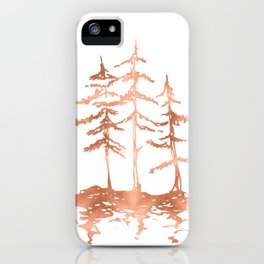 Three Sisters Trees Rose Gold on White iPhone Case