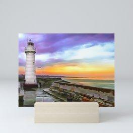 Donaghadee Lighthouse, Ireland. (Painting) Mini Art Print