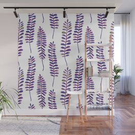 Watercolour Fern Pattern | Purple and Gold Wall Mural
