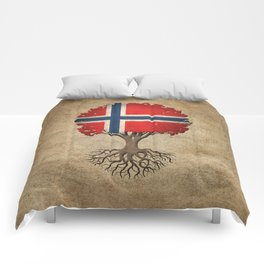 Vintage Tree of Life with Flag of Norway Comforters