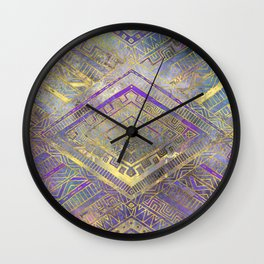 Tribal  Ethnic Boho Pattern gold and gentle purples Wall Clock