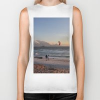 south africa Biker Tanks featuring Sunset Beach - South Africa by The 3rd Eye
