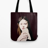 goth Tote Bags featuring Mia Goth by Anna McKay