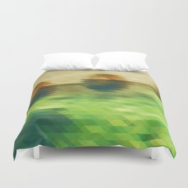 Green yellow triangle pattern, lake Duvet Cover