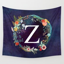 Personalized Monogram Initial Letter Z Floral Wreath Artwork Wall Tapestry
