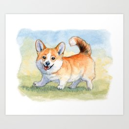 Funny Welsh Corgi 859 Art Print