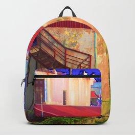 Vietnam Back alley Painting Blue Sky Backpack