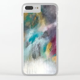 Abstract teals and purples Clear iPhone Case