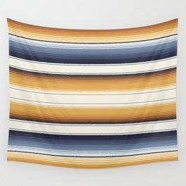 Indigo Blue, Amber Brown and Navajo White Southwest Serape Blanket Stripes Wall Tapestry