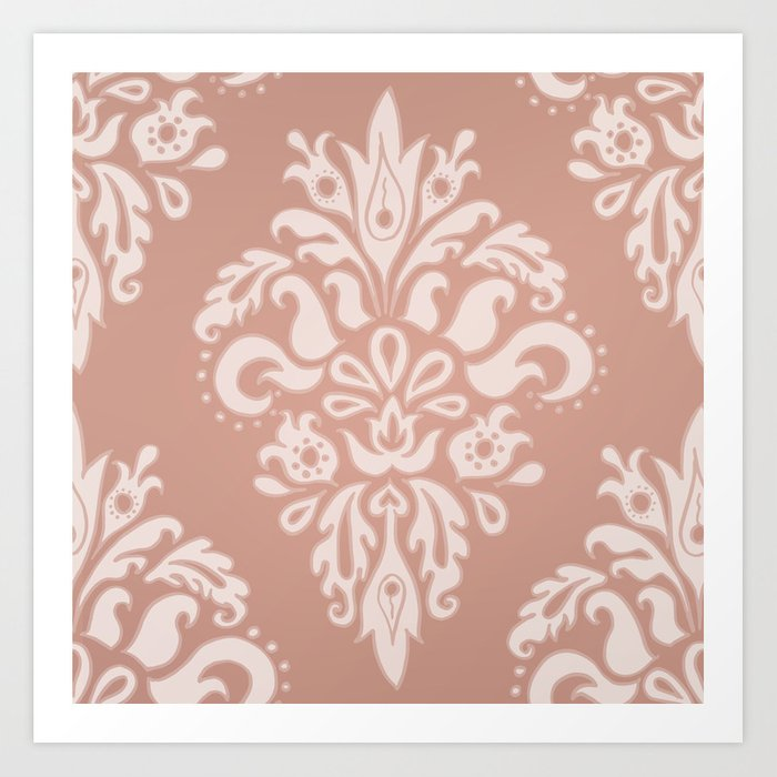 Rose Gold Vintage Pattern Art Print