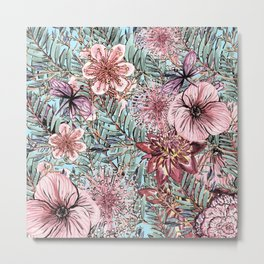 Tropical Pastel Pink Flower Hibiscus Garden Metal Print