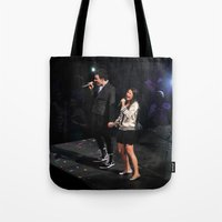 glee Tote Bags featuring Glee Concert: Lea Michele and Chris Colfer by Jackie Lalumandier