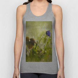 Beautiful spring - first flower little anemone with beautiful bokeh in green background Unisex Tank Top