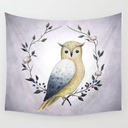 A Long Eared Owl On A Laurel Wall Tapestry