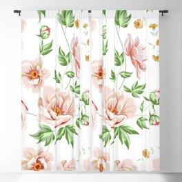 Pink Rose Floral Blackout Curtain