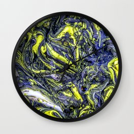 Liquid Oil Art Abstract Blue Yellow Gel Wall Clock
