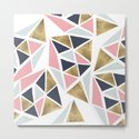 Modern geometrical pink navy blue gold triangles pattern by girlytrend