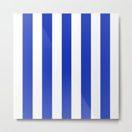 Persian blue - solid color - white vertical lines pattern Metal Print