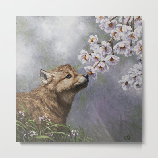 Wolf Pup and Spring Blossoms Metal Print