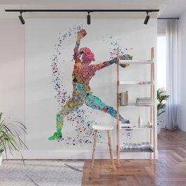 Baseball Softball Pitcher Watercolor Print Art Print Girl's Softball Painting Wall Mural