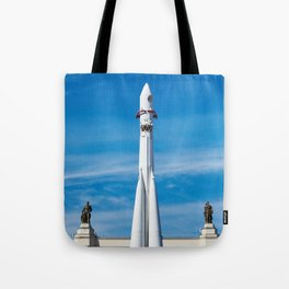 Space rocket Vostok on launch pad Tote Bag