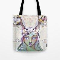 jane davenport Tote Bags featuring Dear Deer by Jane Davenport by Jane Davenport