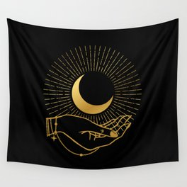 Black & Gold La Lune In Hand Wall Tapestry
