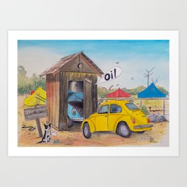 Taxi Bug's Outhouse Drama - Volkys on Camp Art Print