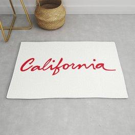 California License Plate Font Palm Trees Sunset Beach Rug