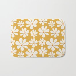 Floral Daisy Pattern - Golden Yellow Bath Mat