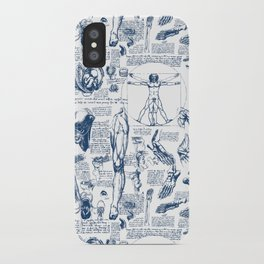 Da Vinci's Anatomy Sketchbook // Dark Blue iPhone Case