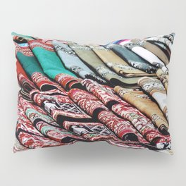 Colorful Scarves at an Outdoor Market Pillow Sham