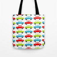 cars Tote Bags featuring cars by laura mendoza v.