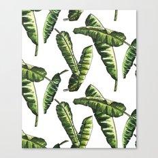 Banana Leaves Watercolor Pattern Canvas Print