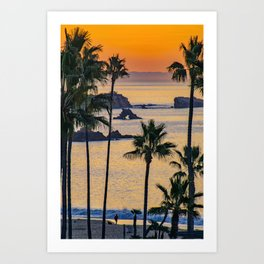 Palms and Arch Rock at Sunrise Art Print