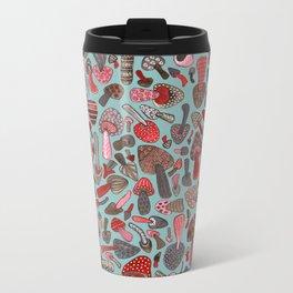 Mushroom Pattern turquoise Metal Travel Mug