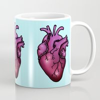 anatomical heart Mugs featuring Anatomical Heart by Hungry Designs