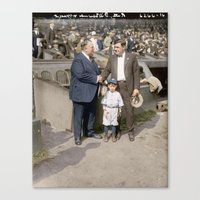 yankees Canvas Prints featuring Babe Ruth, Bill Edwards, and mascot, Oct 7 1924  by Canadian Colour