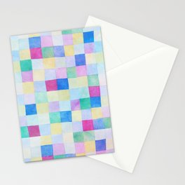 Modern geometric squares pattern colorful pastel tones Stationery Cards