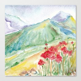 Mountain flowers. Abstract watercolor landscape Canvas Print