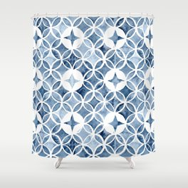 Indigo Retro Tile Shower Curtain