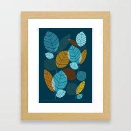 Dark Forest / Abstract Leaf Illustration Framed Art Print
