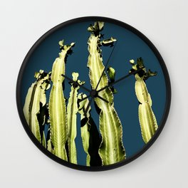 Cactus - blue Wall Clock