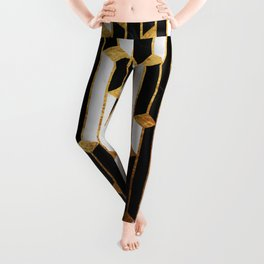 Marble Skyscrapers - Black, White and Gold Leggings