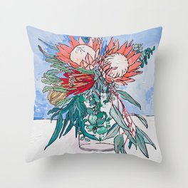 Painterly Vase of Proteas, Wattles, Banksias and Eucayptus on Blue Throw Pillow