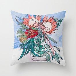 Painterly Vase of Proteas, Wattles, Banksias and Eucayptus on Blue Throw Pillow