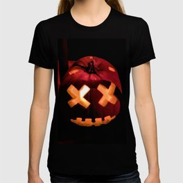 Digital Painting of one Beautifully Craved, Scary Halloween Pumpkin Sitting on the Sones Outside T-shirt
